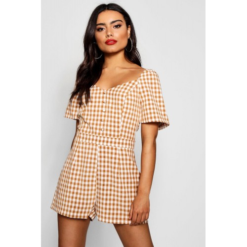 BOOHOO Checked Button Front Sweetheart Neck Playsuit Favorite welcome Please select DZZ18290