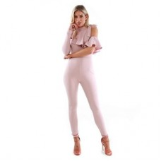 Women Be Jealous - Pink one sleeve frill tie jumpsuit Elegant and beautiful 60514 FFN0078349 SWVBHHS
