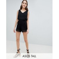 Women ASOS DESIGN Tall culotte shorts with lace hem More stylish and elegant High rise 1233290 MNHFYAM
