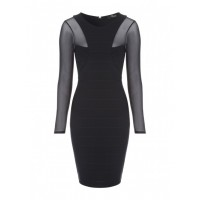 Jane Norman Black Bandage Mesh Dress 96% POLYESTER 4% ELASTANE MESH: 92% POLYESTER 8% ELASTANE LINING: 100% POLYESTER Wash Care: machine wash 72736-BLACK QVCMLLA