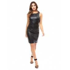 Jane Norman Black PU Bodycon Dress 100% POLYURETHANE Wash Care: machine wash 61184-B01 LJGOSNU