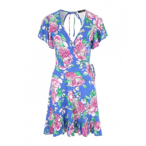 Jane Norman Blue Floral Wrap Front Dress 95% VISCOSE 5% ELASTANE Wash Care: Machine Washable 3300239-A02 URCOZXK