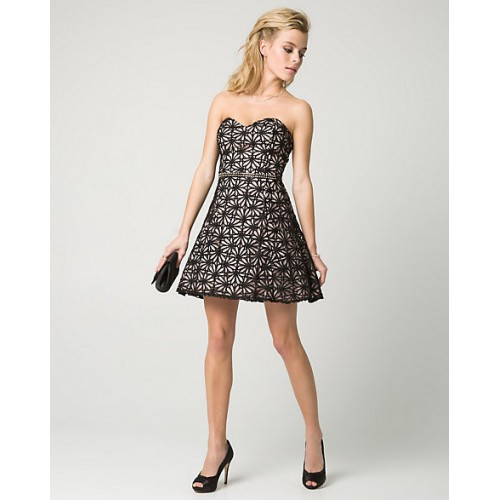 Women Floral Lace Sweetheart Party Dress STYLE: 345955 Care Lace Black/Pink RPFMGTY