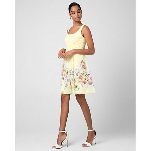 Women Floral Print Chiffon Fit & Flare Dress STYLE: 345421 Care Chiffon Yellow/White EMOMRHH