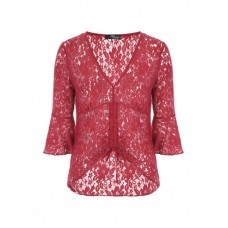 Jane Norman Red Ruched Lace Top 90% NYLON 10% ELASTANE Wash Care: hand wash 60988-RED KJQVACF