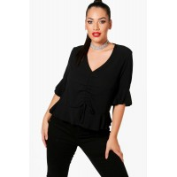 Plus Rouched Front Woven Blouse Comfortable elegant and beautiful black PZZ84810