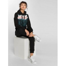 Dangerous DNGRS Women Hoodie Bassi in black black / white 80% cotton 20% polyester wide drawstring at the hood DLHD056BLK BLFDUOG