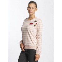 Urban Surface Women Jumper Striped Patch in rose pink / white 64% cotton 36% polyester Round neckline with coarse ribbed trim D1068L01618ASHAROS KHVCHUM